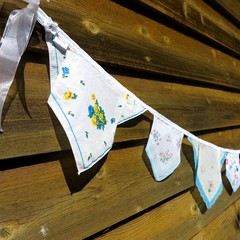 Vintage Hanky Bunting - Wedding Engagement Party Boho *FREE POSTAGE*
