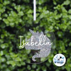 Glitter Unicorn Bauble Personalised Christmas  Decoration Name Keepsake 2019
