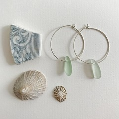 Sage green Sea glass hammered hoops