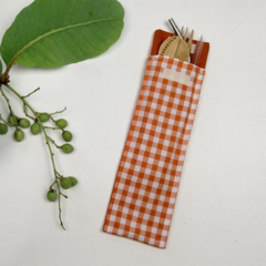 Orange Gingham Cutlery Pouch with Bamboo Cutlery, Stainless Steel St
