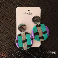 Black/Purple/Teal/Silver glitter basket weave very large earring