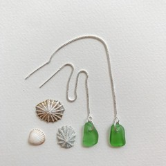 Lime green sea glass thread earrings