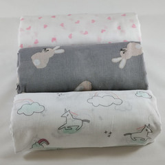 Muslin wrap / swaddle / shawl / receiving blanket, pack of three.