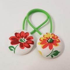 Flower fabric button hair ties - hair accessories