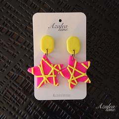 Fluro Pink & Flue Yellow star earrings - opt 2