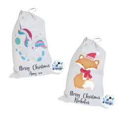 Unicorn or Fox Santa Sack Merry Christmas Present Gift Bag