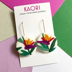 Polymer clay earrings, statement earrings in birds of paradise