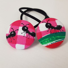 Ant fabric button hair ties - hair accessories