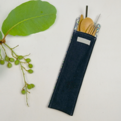 Denim Cutlery Pouch with Bamboo Cutlery, Stainless Steel St