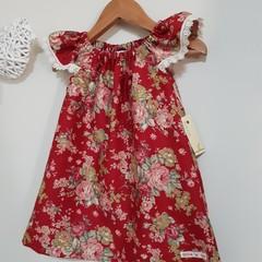 Girls Red Floral Flutter Sleeve Dress