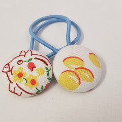 Piggybank fabric button hair ties - hair accessories