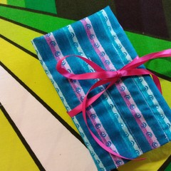 Crochet Hook Handy Wrap-Teal, lilac stripes with mini swirl REDUCED PRICE
