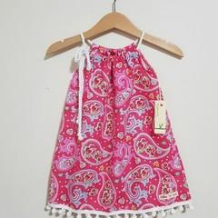 Pink Paisley Girls Pillowcase Dress Size 0
