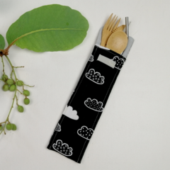 Charcoal Grey Cloud Design Cutlery Pouch with Bamboo Cutlery, Stainless Steel St