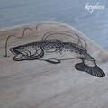 Wood Burnt Bass Fishing Camphor Laurel Cutting Board