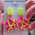 Fluro Pink & Flue Yellow star earrings - opt 1