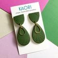 Polymer clay earrings, statement earrings in green textured monstera