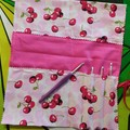 Crochet Hook Handy Wrap-Red Cherries on Pink