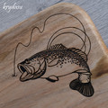 Wood Burnt Bass Fishing Camphor Laurel Cutting Board