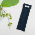 Denim Cutlery Pouch with Bamboo Cutlery, Metal Straw & Brush