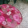 Round Small Coasters - Pink Buttons - Drink or a Paperweight - SINGLE- Resin