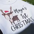 Baby's first Christmas Bodysuit Bib 4 Designs Deer Penguin Gingerbread man
