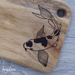 Wood Burnt Koi Fish Camphor Laurel Cutting Board