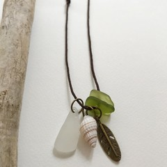 Sea glass cotton adjustable necklace