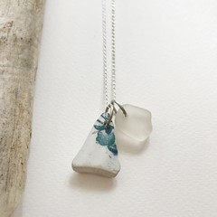 Sea glass and sea pottery necklace