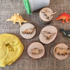 Timber Playdough Stampers - Dinosaur set