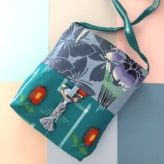 Handcrafted kimono fabric handbag with polymer clay embellishment - turquoise