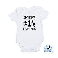 Baby's first Christmas Bodysuit Bib 4 Designs Deer Penguin Gingerbread man