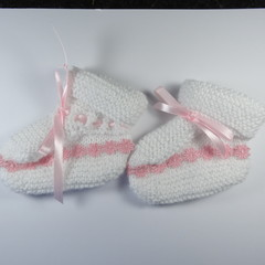 White Bootees with Pink Braided  Daisy trim