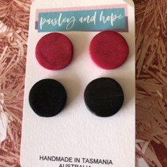 2 pack black & maroon statement stud  - CLEARANCE 4 for $20