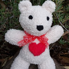 Teddy Bear - small, soft & snuggly, hand knitted. Valentine's Day or baby gift