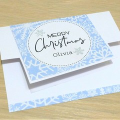 Christmas gift card holder / money wallet - frozen snowflakes - personalised