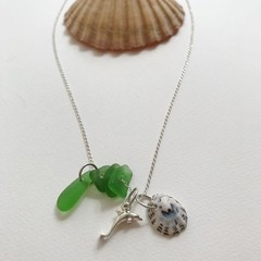 Sea glass sea shell dolphin necklace