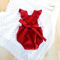 Red Baby Romper with Ruffle Sleeves - Girls Boho Playsuit