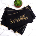 Personalised Canvas Black & Gold Pouch Pencil case Makeup Bag