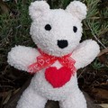 Teddy Bear - small, soft & snuggly, hand knitted. Baby gift