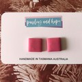 Baby pink square statement stud  - CLEARANCE 4 for $20