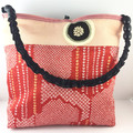 Handcrafted kimono fabric handbag-  with beaded tassel- red shibori silk