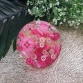 Patter Weights - Pink Buttons - Small Round - Drink Coaster Paperweight - SINGLE