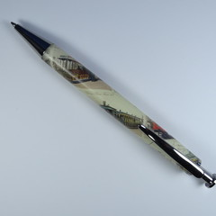 Resin Executive  click style pen using  Train Postage Stamps on tube