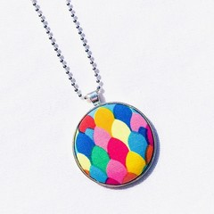 Silver Plated Pendant Necklace - Rainbow