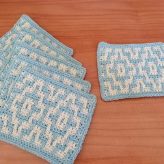 Mosaic Crochet Coasters Set of 6