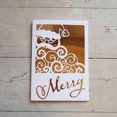 Merry Golden Santa Card