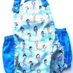 Mermaid romper overalls - baby - toddler - girl. cotton