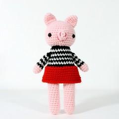 stuffed plush toy pig, amigurumi crochet doll, farm pig animal .. PRISCILLA
