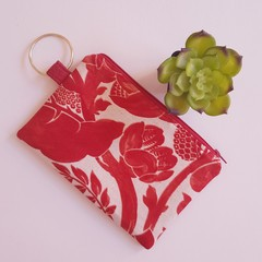 Red and cream ladies clutch zipper pouch